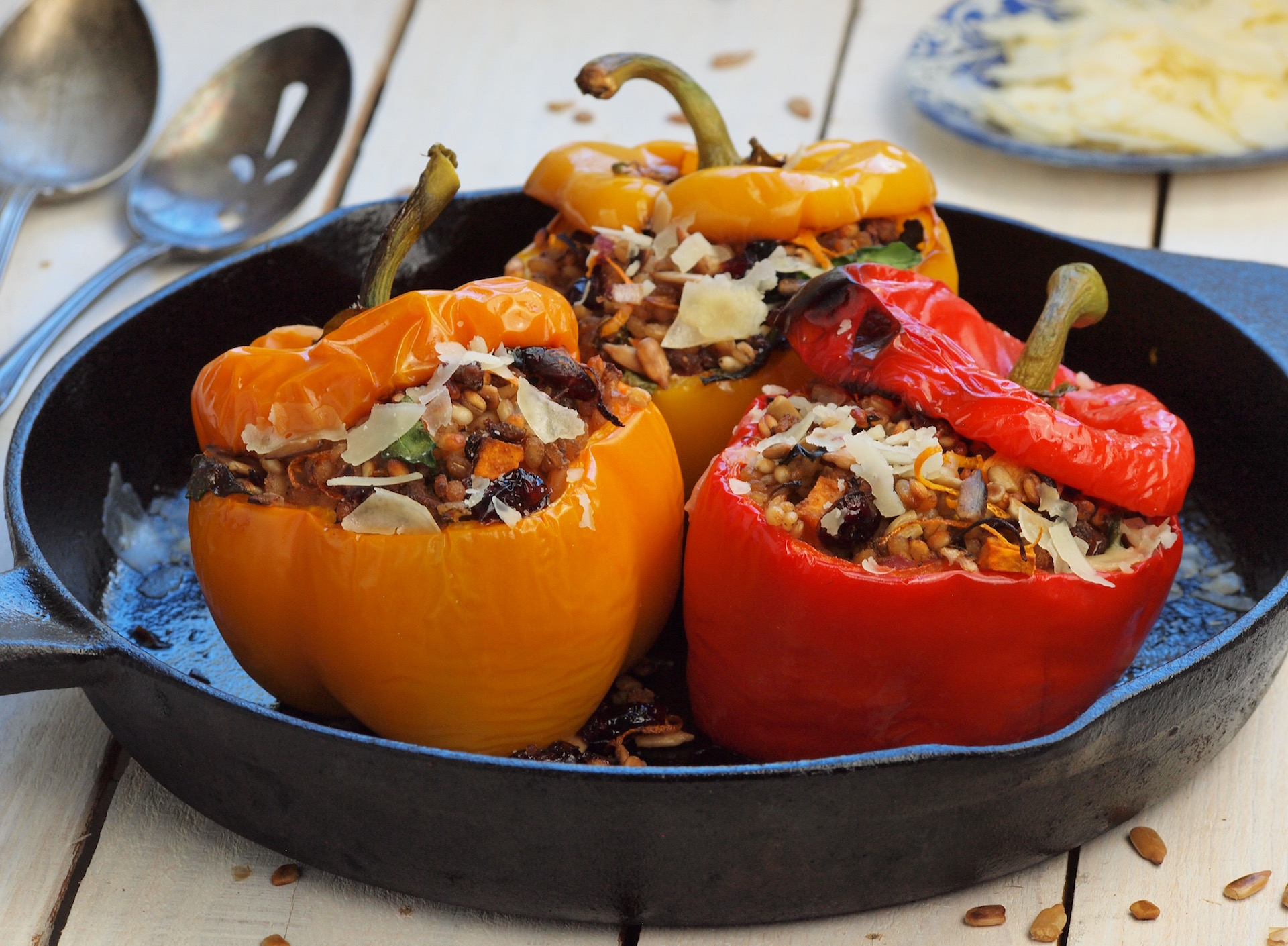 Beef Barley Stuffed Peppers
