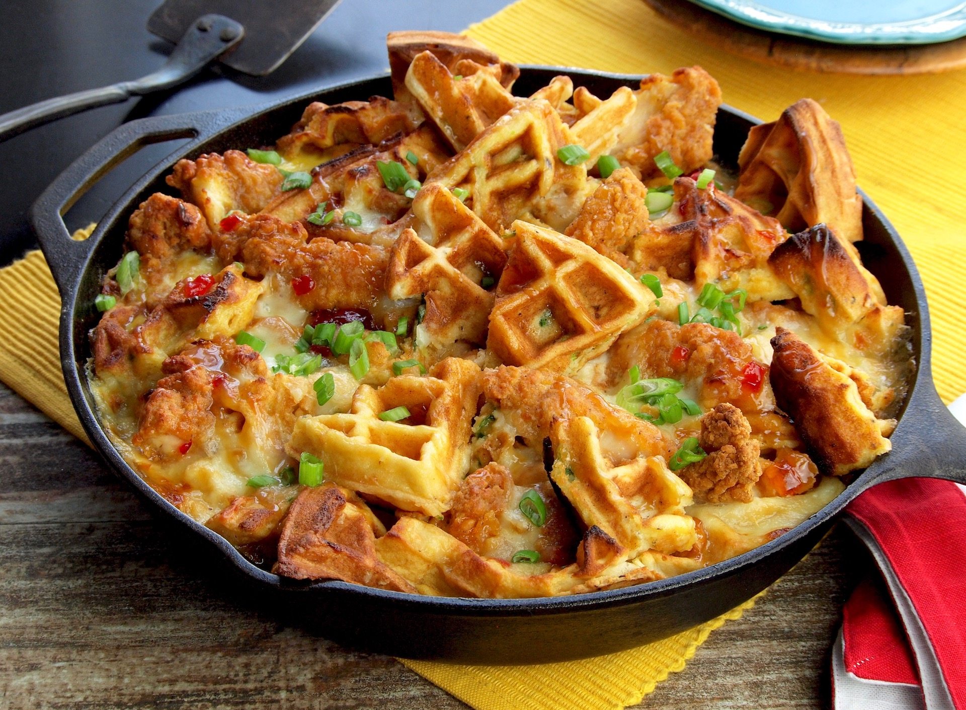 Cheesy Chicken and Waffle Casserole