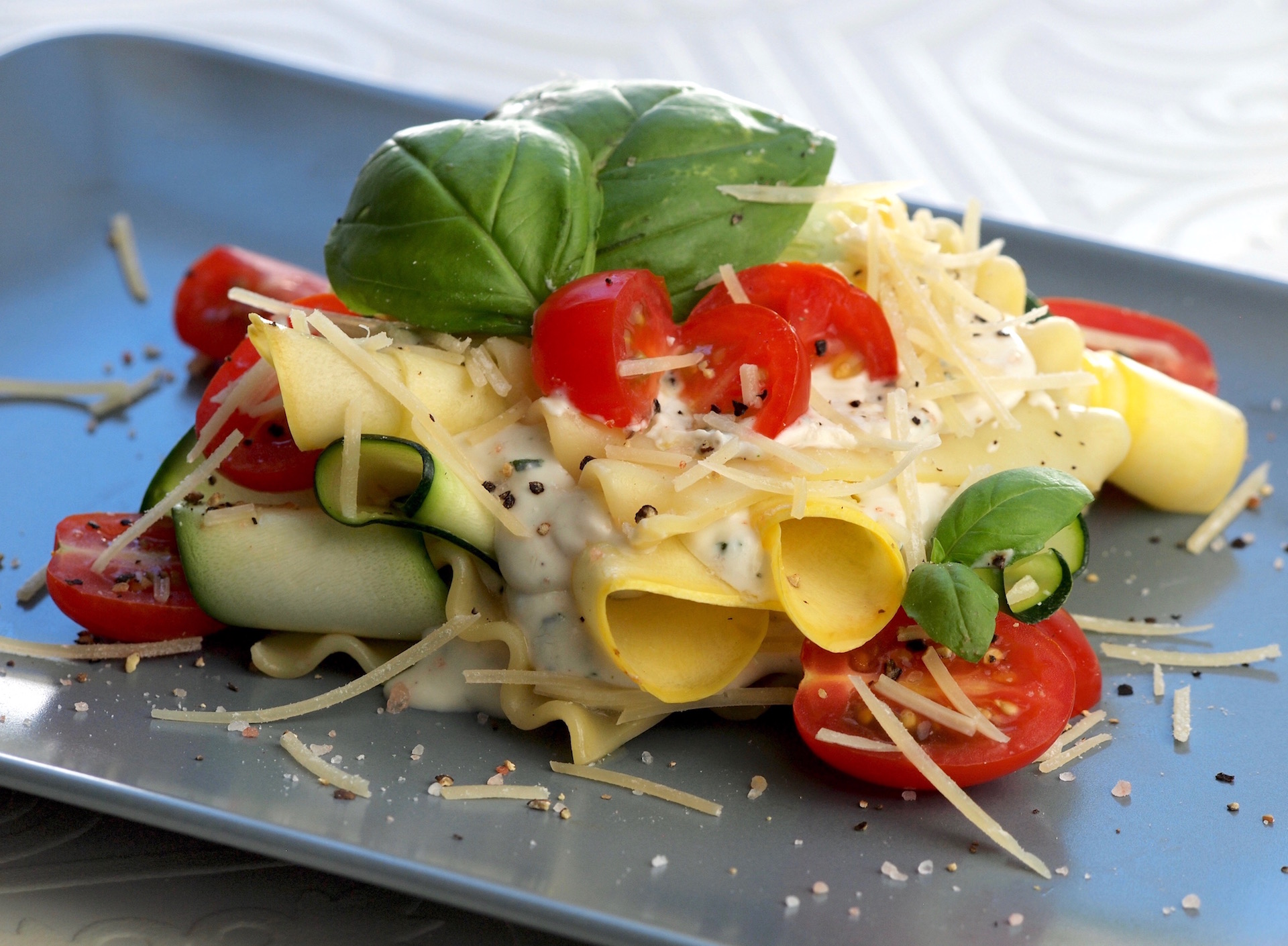 Chilled Squash Lasagna with Herbed Cheese