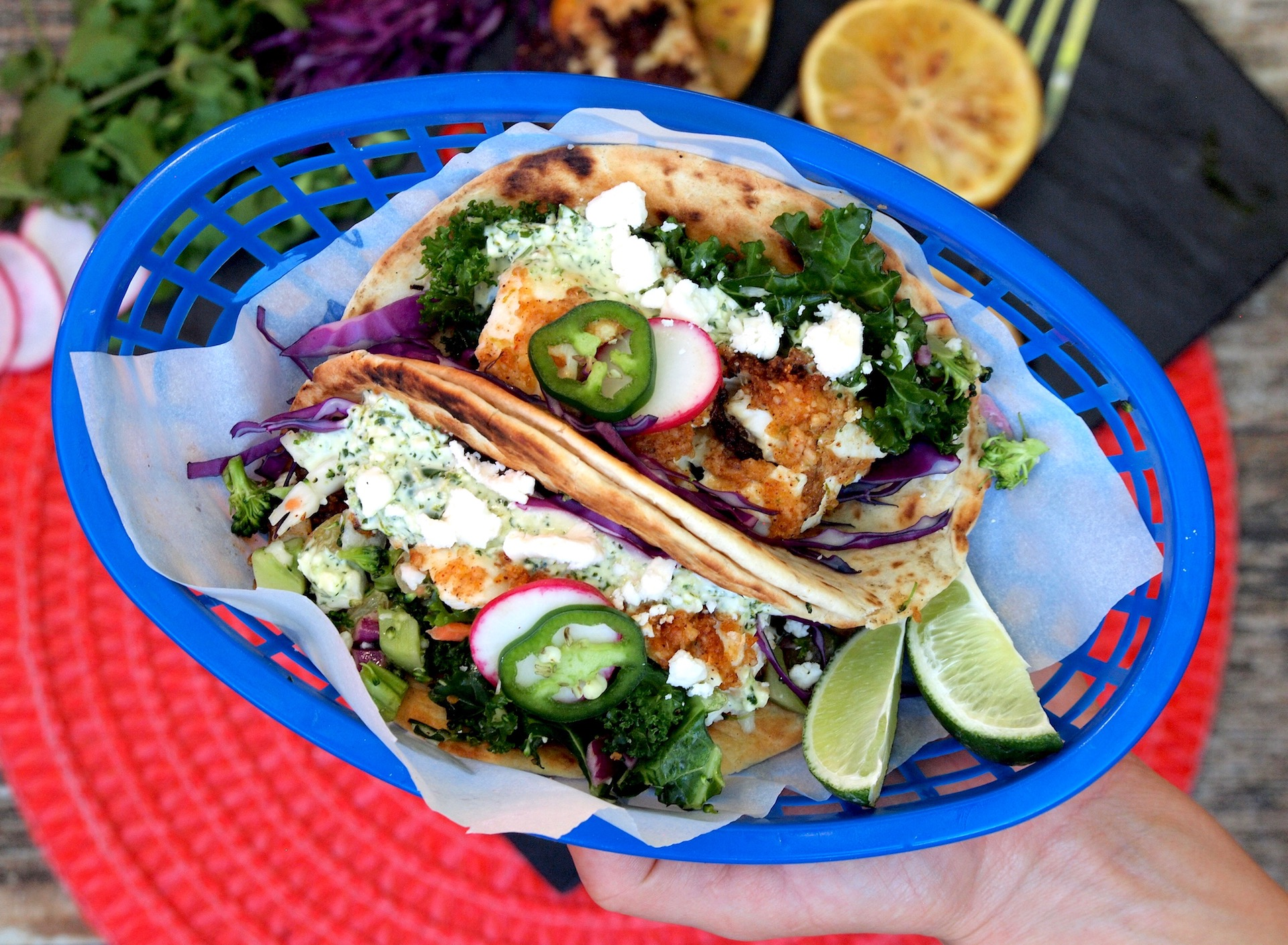 Chili and Parmesan Encrusted Grilled Fish Tacos