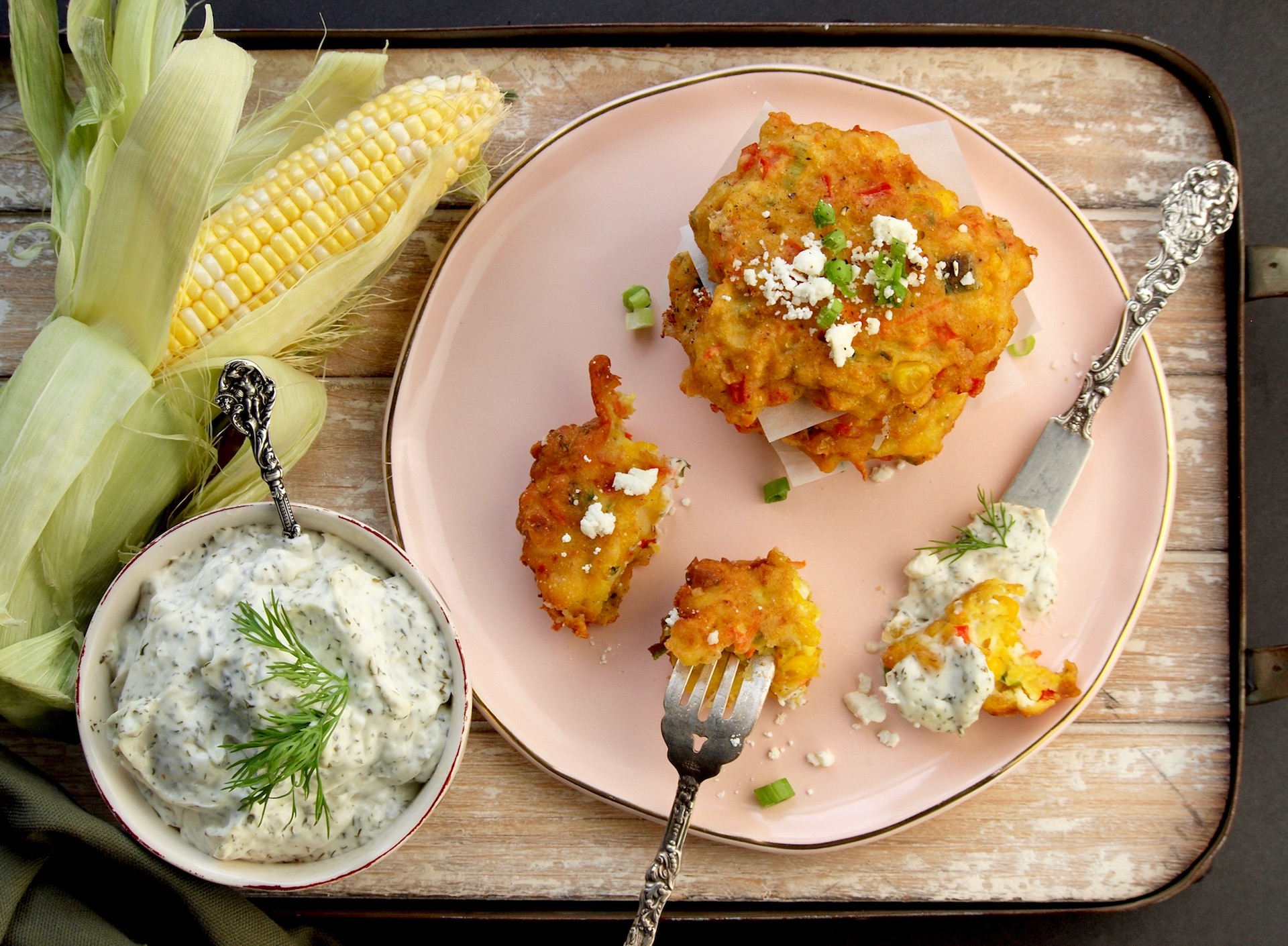 Sweet Corn Feta Fritters with Ricotta Dill Sauce
