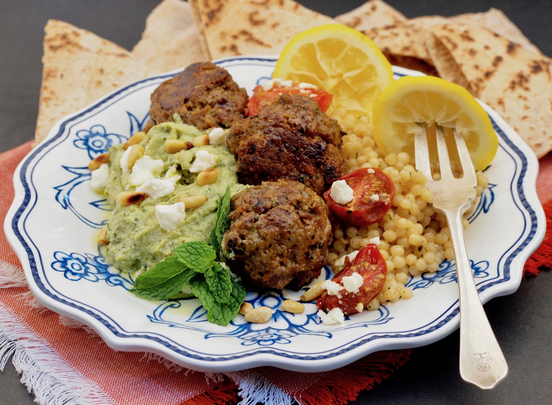 Greek Lamb Meatballs with Avocado Feta Sauce