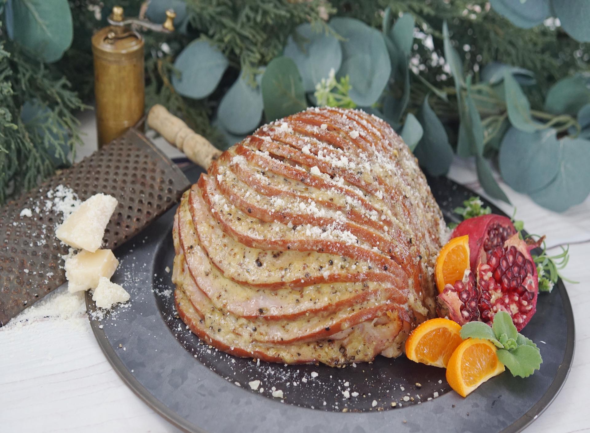 Parmesan Black Peppercorn Encrusted Ham