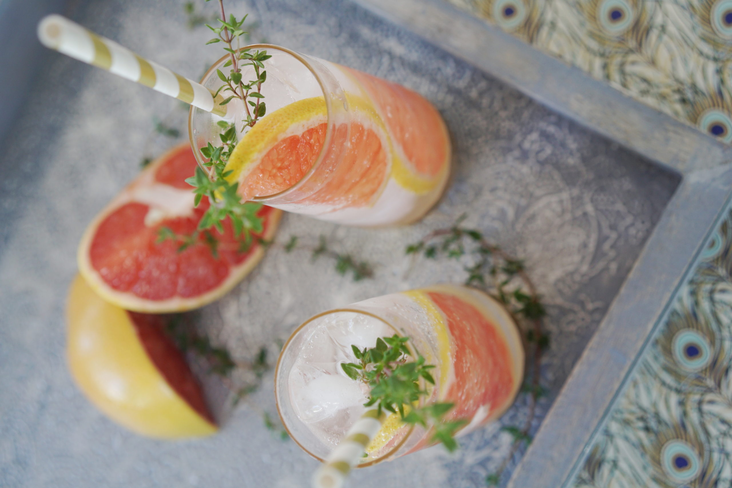 Winter Grapefruit and Elderflower Thyme Spritzer