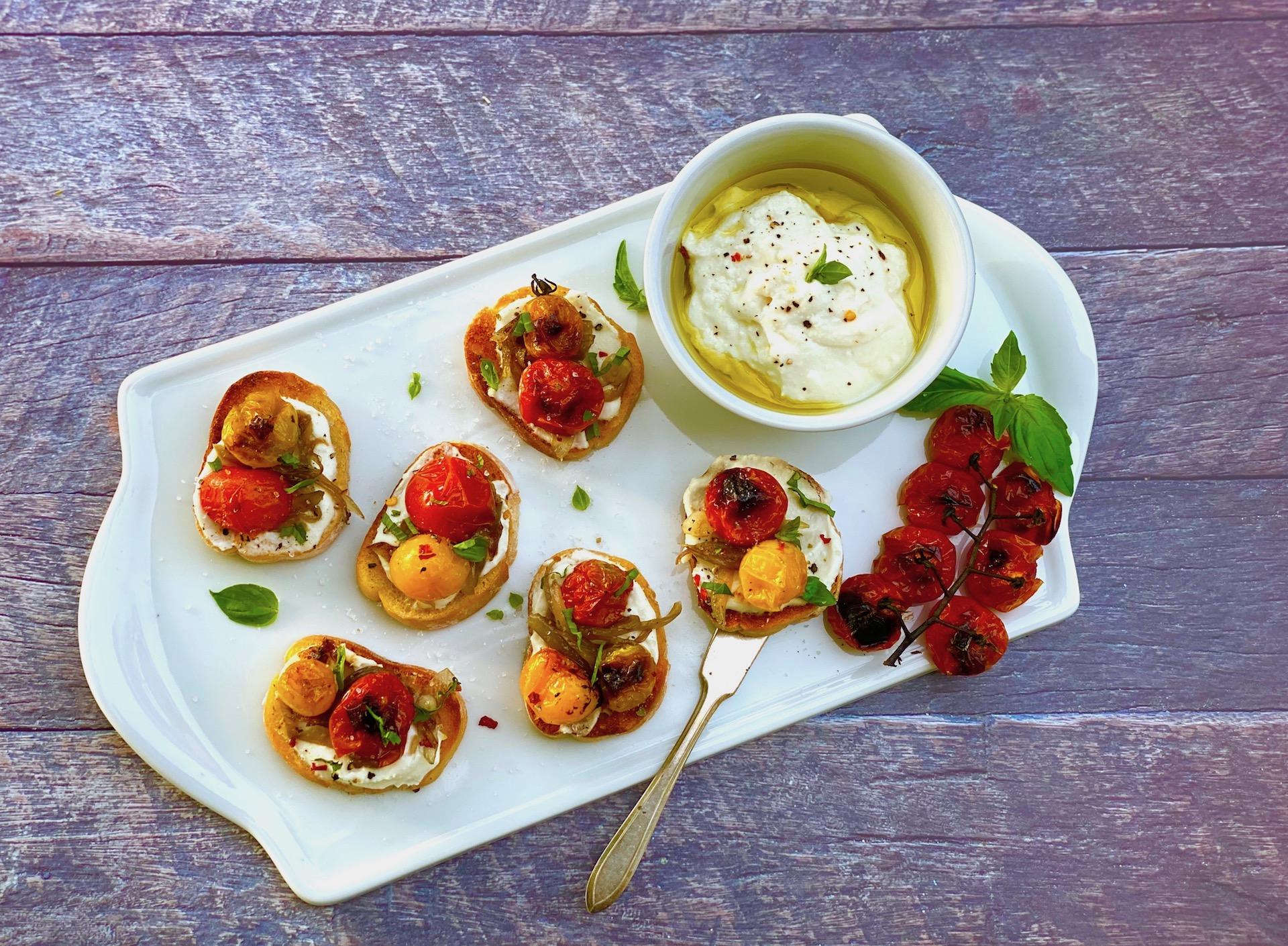 Ricotta Caprese Toast with Roasted Tomatoes