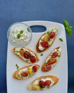 Ricotta Caprese Toast with Roasted Tomatoes